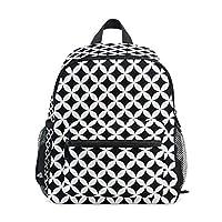Small School Bag Diamond Black White Geometric Pattern Backpack for Girl Boy Children Mini Travel Daypack Primary Preschool Student Bookbag