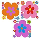 Hippie Blumen Aufkleber, Autoaufkleber Hippie 030-3 Stück 21 cm -blau, gelb, grün (orange - lila - pink)