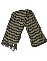 Mens Scarf With Check & Strip Design On Either Side, With Tassles 210cms x 45cm, Grey