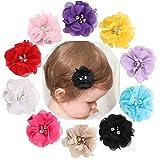 Miaoo 10pcs en mousseline Fleurs strass perles Cheveux de bébé nœuds Clips pour filles Bébés tout-petits