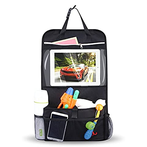INTEY Car Seat Organiser Multi-Pocket Travel Storage With Touch Screen iPad Holder (1 Pack)