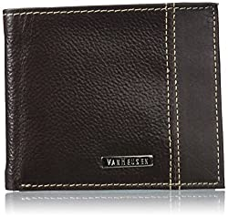 Van Heusen Mens Mens Leather Slim Wallet With Contrast Color Stitching And Flip Up Clear Id Window