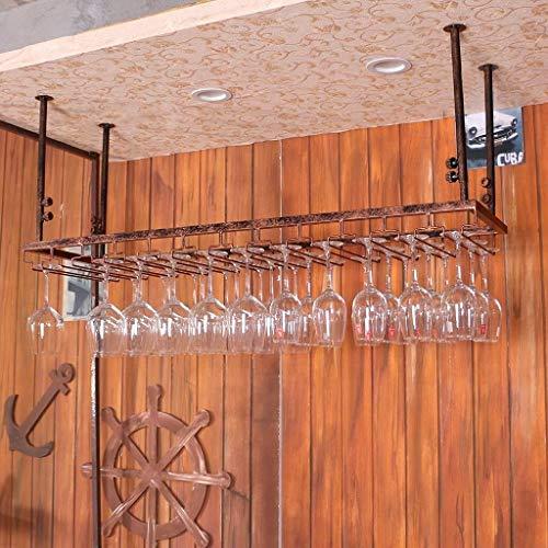 DJSMjbj Racks Eisen Hängeregal Weinglas Rack Deckendekoration Regal für Bars, hängende Glashalter...