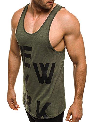 OZONEE Herren Tanktop Tank Top Tankshirt T-Shirt mit Print Unterhemden Ärmellos Weste Muskelshirt Fitness BREEZY 726 Grün