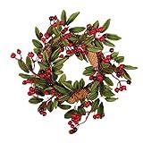 PRETYZOOM Coronas de Navidad para Puerta de Navidad con Cono de Pino Baya 40 cm