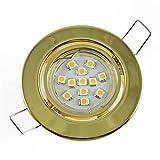 SMD LED Einbaustrahler Set Einbauleuchten Einbauspot Unterbauspot Messing inkl. GU10/230V 15er SMD LED Leuchtmittel 0,8W Wahlweise in 2 Lichtfarben Warmweiß/ Kaltweiß (Lichtfarbe warmweiß)