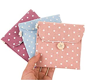 Women Girls Cotton Linen 4 Pcs Polka Dot Sanitary Napkin Bag Portable Sanitary Pad Storage Organizer Case Sanitary Towel Pouch Purse Holder