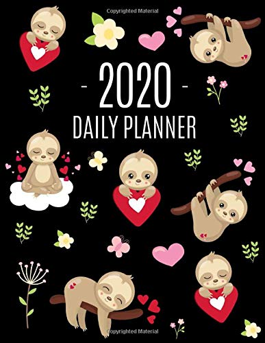 Baby Sloth Daily Planner 2020: Cute Animal Planner & Weekly Organizer | Large Monthly Agenda Scheduler for Meetings and Appointments | Cool Black ... & Pink Hearts (Daily Planners 2020, Band 4) -