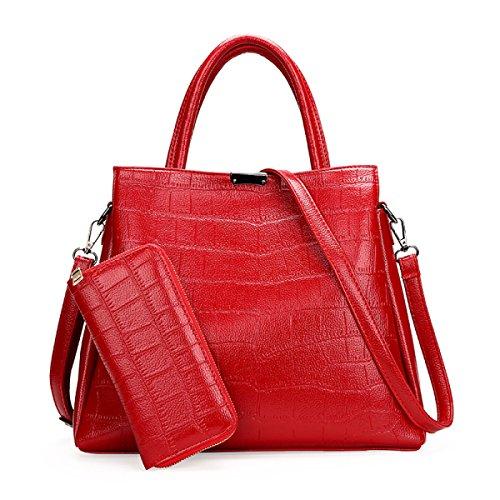 Dame Steinmuster Zwei Stücke Des Unterpakets Art Und Weise Schulterbeutel Handtasche Diagonales Paket Mappe Red