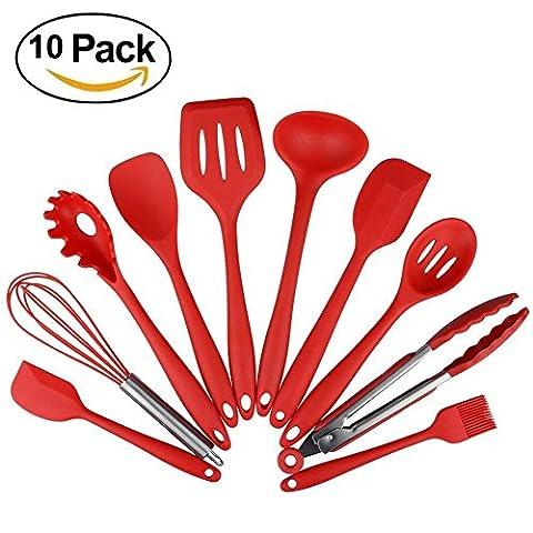 Silikon Küchenhelfer Set 10 Stück Perfekt zum Kochen und Backen Küchenzubehör (4 Stück Silikon-spachtel)