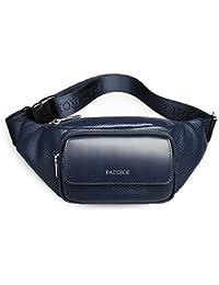Padieoe Leder Handtasche Klein Sporttasche Sling Brusttasche Bauchtasche Herren Fanny Packs Messenger Bag
