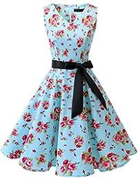 bridesmay 1950er Vintage Cocktailkleid Rockabilly V-Ausschnitt Kleid Retro Schwingen Kleid Faltenrock