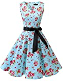 bridesmay 1950er Vintage Rockabilly V-Ausschnitt Kleid Retro Cocktailkleid Schwingen Kleid FaltenrockSmall Red Flower 2XL