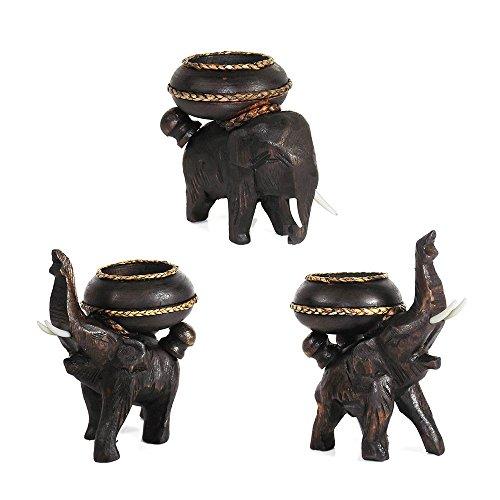 AeraVida DREI Posing Elefanten geschnitzt Regen Baum Holz Teelichthalter Set (Teelichthalter Baum)