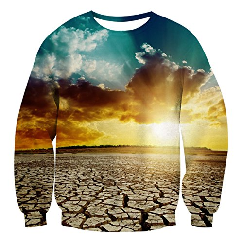 Uideazone Unsiex 3D Stampato Ugly Natale Pullover Felpe X-mas shirt Desert