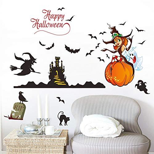 Feliz Halloween Decoración Fantasma Bruja Calabaza Castel Bat Gato Pegatinas De Pared Aufkleber Wandbild Arte Cartel Decoración Del Hogar ()
