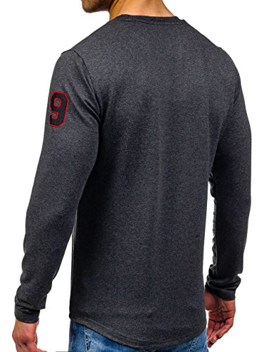 BOLF – Sweat-shirt – Manches longues – U-neck – Sport – Motif – Homme [1A1] Anthracite