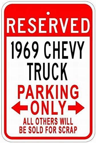 WallAdorn 1969 69 Chevy Truck Parking s Eisen Poster Malerei Blechschild Vintage Wall Decor für Cafe Bar Pub Home (Chevy Lichter Truck)