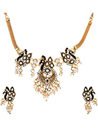 Zeneme Traditional Dancing Peacock Necklace Set With Earrigns Jewellery For Women And Girls