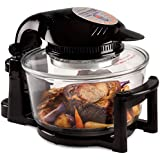 Andrew James 12 Litre Black 1400W Digital Halogen Oven Cooker With Hinged Lid - Full Accessories Pack, Spare Bulb, Extender Ring + 2 Year Warranty