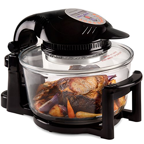 An image of the Andrew James Halogen Oven with Hinged Lid & Accessories Pack - 12 Litre Self-Cleaning Mini Digital Oven with 2 Hour Timer & Adjustable Temperature Dial - 1400W
