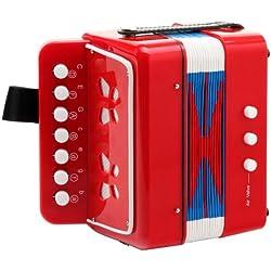 Classic Cantabile 32271 - Acordeón (para niños, a partir de 3 años, 7 teclas, 2 bajos), color rojo