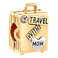 CandyCharms Rose Gold Love Travel with Mom Suitcase Beads for Charm Bracelets