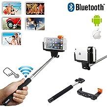 """Alta calidad selfie stick extensible con Bluetooth integrado Remote botón y Universal Phone Holder para BlackBerry Classic y Leap y Passport y Q10y Z10y Z30y Z3totalmente ajustable Handheld Monopod 11""""–40cm–luz, Compact, y fácil de transportar con You"""