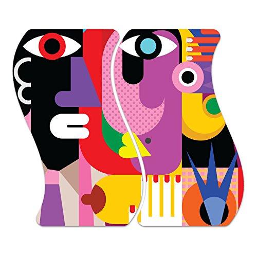 DekoGlas Herdabdeckplatten Set inkl. Noppen aus Glas 'Kubistisches Porträt', Herd Ceranfeld Abdeckung, 2-teilig Curved 2X 52x30 cm -