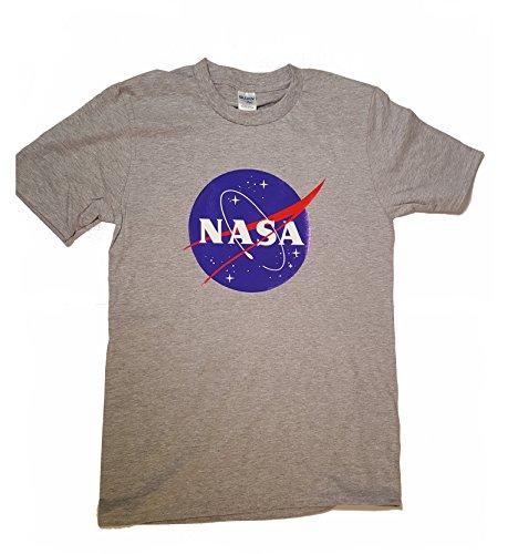 Logotipo licenciado de la albóndiga de la NASA Camiseta para hombre Premium (Impresión de la transferencia de la ropa) - Gris - X-Large
