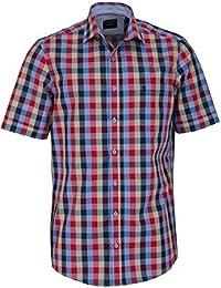 CASAMODA Comfort Fit Hemd Halbarm mit Besatz Karo dunkelblau