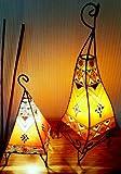 Twin verniciato marocchino Henna Lampade - quadrato arancione & panna 60
