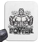 Helene Mousepad (Mauspad) Power - Fitness - Kraftsport - Muskelaufbau - Gym für ihren Laptop, Notebook oder Internet PC (mit Windows Linux usw.) in Weiß