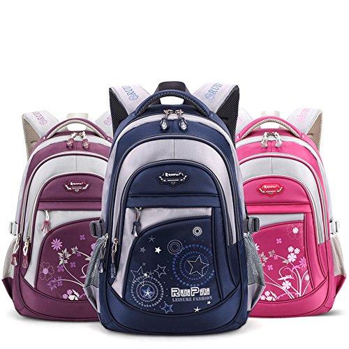 Leefrei Schulrucksack Schulranzen Schultasche Sports Rucksack Freizeitrucksack Daypacks Backpack für Mädchen Jungen & Kinder Damen Herren Jugendliche mit der Großen Kapazität (Lila-Blume) - 8