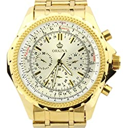 Orkina White Chronograph Dial Gold Color Stainless Steel Wrist Watch PO004SGW