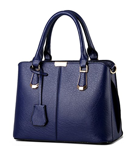 Alidier Neue Marke und Qualität 2016 Neue Damen Shopper Ledertaschen Handtaschen Umhängetasche Schultertasche Tote Bag Saphirblau