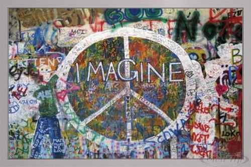 Close Up Peace Wall Poster Imagine Berliner Mauer (96,5x66 cm) gerahmt in: Rahmen Silber