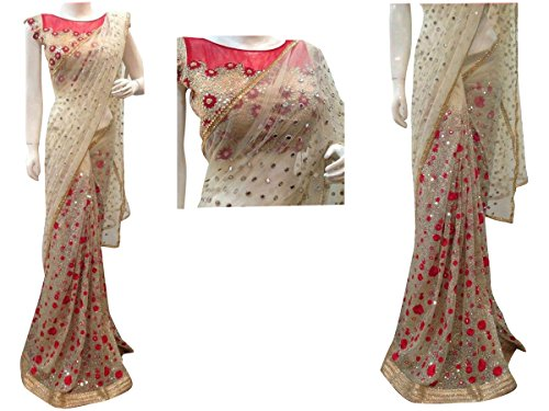 CmDeal Beige Color Naylon Net Embroidered Party Wear Saree with Blouse Piece-5310SEKT-3033