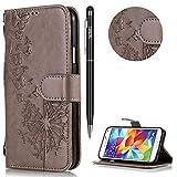 Galaxy S5 Hülle,Galaxy S5 Handyhülle Leder,WIWJ Wallet Case[Geprägtes Löwenzahn Handy Case]Schutzhüllen für Samsung Galaxy S5-Grau#