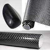 KUNFINE KUNFINE 3D Karbonfaser Schwarz Auto Styling Wasserdicht Auto Aufkleber 3D Carbon Fiber Vinyl Film mit Air Free Bubble Wickeltuch, Auto DIY Auto Sticker Tuning Teil 152cm * 30cm