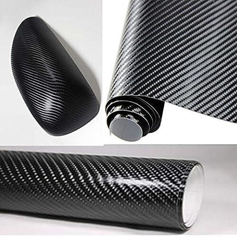 Kunfine Rouleau de film autocollant 3D en fibre de carbone en vinyle 127cm x 30cm pour décorer la sono de votre voiture. Résiste à l'eau.