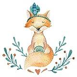Wandtattoo Kinderzimmer Aquarell Fuchs mit Indianer Federn Wandsticker