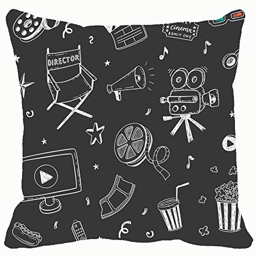 568b64075375e Seamless Pattern Hand Drawn Cinema Doodles Backgrounds Textures Popcorn  Vintage Throw Pillows Covers Cushion Case Pillowcase Home Sofa Couch 18 x  18 ...