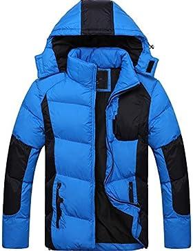Nueva pato blanco abajo del abrigo de invierno chaqueta de cuello de los hombres ocasionales , blue , xl