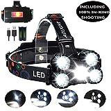 Torcia da testa zoomabile, 10000 lumen, 4 modalità, 5 LED, ricaricabile e impermeabile, da casco per pesca, arrampicata, campeggio, lavoro, ecc.