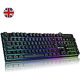 Luibor Gaming Keyboard,Rainbow LED Backlight Mechanical Feeling USB Wired Gaming Keyboard,19 Keys Anti-slipping Easy Connect to Laptop, PC etc. (Black)
