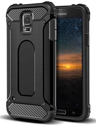 galaxy s5 schutz Coolden Samsung Galaxy S5 Hülle, Premium [Armor Serie] Outdoor Stoßfest Handyhülle Silikon TPU + PC Bumper Cover Doppelschichter Schutz Hülle für Samsung Galaxy S5 (Schwarz)