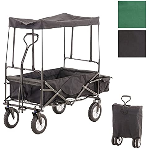 CLP Carrito plegable RUDI, carro de transporte con neumáticos anchos, completo con tejado, bolsa trasera y bolsa de transporte