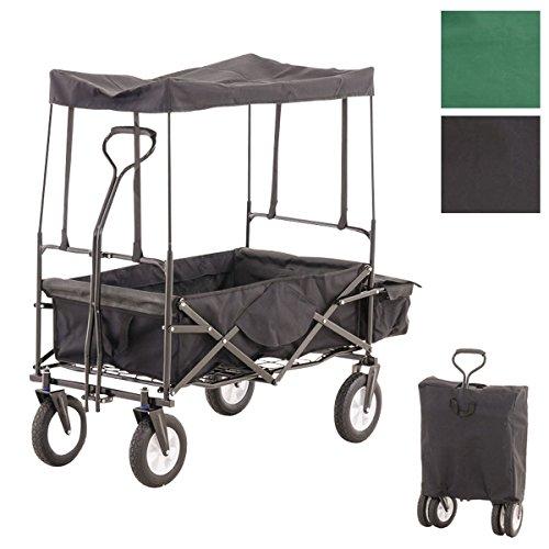 CLP faltbarer Bollerwagen RUDI mit breiten Reifen, komplett mit Dach, Hecktasche & Transporttasche schwarz