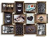 levandeo Bilderrahmen Collage Kupfer Schwarz 72x54cm 12 Fotos 13x18cm Industrial Industrie Deko Glasscheiben